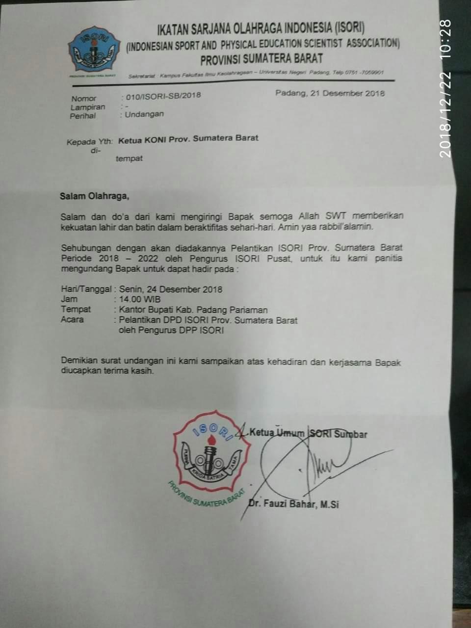 Undangan tertulis dari Ketua ISORI Sumbar Dr Fauzi Bahar
