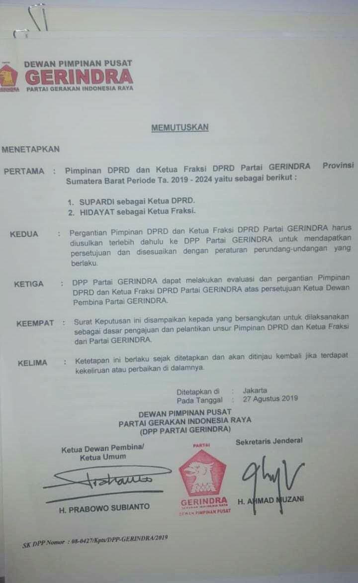 Supardi Sah Ditetapkan Sebagai Ketua DPRD Sumbar